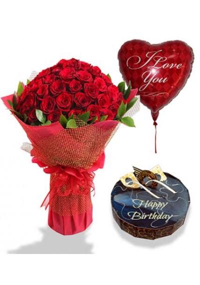 Astounding Birthday Flowers Cake Balloons Flowerdeliverymakati Com Funny Birthday Cards Online Alyptdamsfinfo