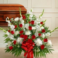 Funeral_Red And White Sympathy Floor Basket