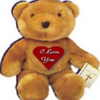 "24"" Brown Teddy Bear with I Love You Pillow."