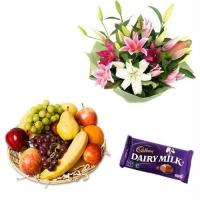 Flower With Fruit Basket N Chocolate