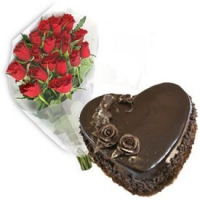 Bouquet with 1 Kg Heart Shape Chocolate